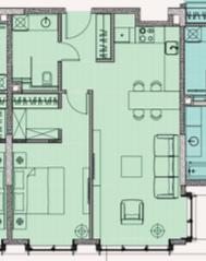 МФК «Soho+Noho», планировка 2-комнатной квартиры, 56.30 м²