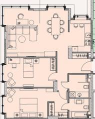 МФК «Soho+Noho», планировка 3-комнатной квартиры, 93.17 м²