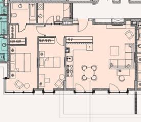 МФК «Soho+Noho», планировка 3-комнатной квартиры, 88.65 м²