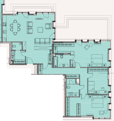 МФК «Soho+Noho», планировка 4-комнатной квартиры, 148.53 м²