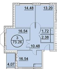 ЖК «Большое Домодедово», планировка 3-комнатной квартиры, 73.26 м²