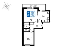 ЖК «Большое Домодедово», планировка 2-комнатной квартиры, 54.90 м²