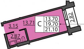 ЖК «Курортный» (Зеленогорск), планировка студии, 21.11 м²