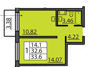 ЖК «Курортный» (Зеленогорск), планировка 1-комнатной квартиры, 33.60 м²
