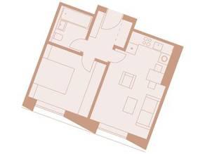 ЖК «Медный 3.14», планировка 1-комнатной квартиры, 41.00 м²