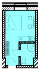 МФК «Восток», планировка студии, 18.08 м²