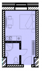 МФК «Восток», планировка студии, 18.74 м²