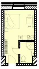 МФК «Восток», планировка студии, 18.73 м²