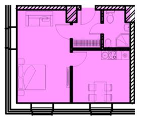 МФК «Восток», планировка 1-комнатной квартиры, 38.13 м²