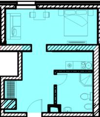 МФК «Восток», планировка 1-комнатной квартиры, 33.13 м²