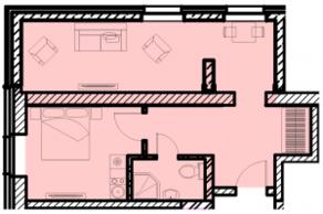 МФК «Восток», планировка 1-комнатной квартиры, 43.13 м²