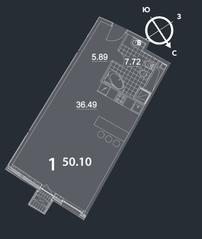 МФК «Nakhimov», планировка студии, 50.10 м²