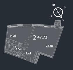 МФК «Nakhimov», планировка 2-комнатной квартиры, 47.72 м²
