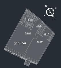 МФК «Nakhimov», планировка 2-комнатной квартиры, 65.54 м²