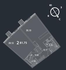 МФК «Nakhimov», планировка 2-комнатной квартиры, 81.75 м²