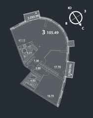 МФК «Nakhimov», планировка 3-комнатной квартиры, 105.49 м²