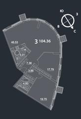 МФК «Nakhimov», планировка 3-комнатной квартиры, 104.36 м²