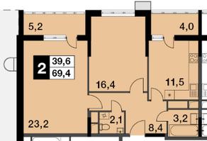 ЖК «Новогиреевский», планировка 2-комнатной квартиры, 69.40 м²