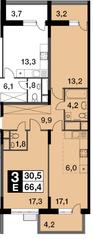 ЖК «Новогиреевский», планировка 3-комнатной квартиры, 66.40 м²
