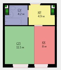 ЖК «Новая Звезда» (Газопровод), планировка студии, 28.70 м²