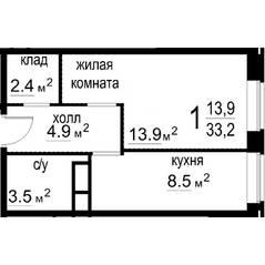 ЖК «Некрасовский» (Звенигород), планировка 1-комнатной квартиры, 33.20 м²