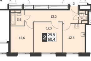ЖК «Рихард», планировка 2-комнатной квартиры, 60.40 м²