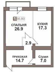 ЖК «Нагорная 7», планировка 1-комнатной квартиры, 66.80 м²