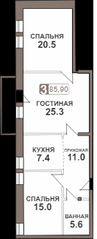 ЖК «Нагорная 7», планировка 3-комнатной квартиры, 85.90 м²