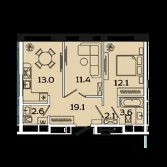 МФК «Ленинский 38», планировка 2-комнатной квартиры, 52.70 м²