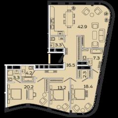 МФК «Ленинский 38», планировка 4-комнатной квартиры, 131.60 м²