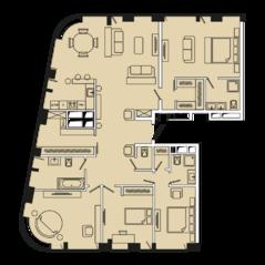 МФК «Ленинский 38», планировка 4-комнатной квартиры, 161.40 м²