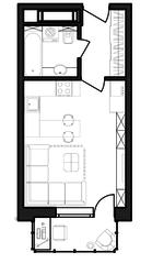 ЖК «Гоголь парк», планировка студии, 26.96 м²