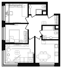 ЖК «Гоголь парк», планировка 3-комнатной квартиры, 66.82 м²