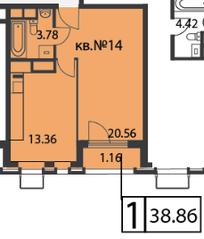 ЖК «Время», планировка 1-комнатной квартиры, 38.86 м²