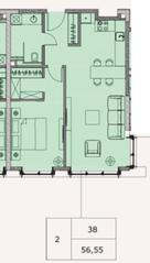 МФК «Soho+Noho», планировка 2-комнатной квартиры, 56.55 м²