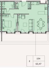 МФК «Soho+Noho», планировка 2-комнатной квартиры, 63.47 м²