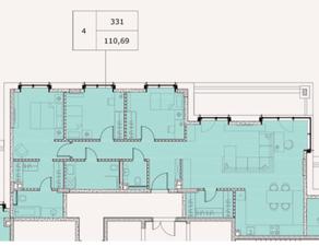 МФК «Soho+Noho», планировка 4-комнатной квартиры, 110.69 м²