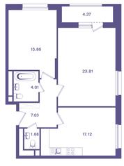 ЖК «Ты и Я», планировка 2-комнатной квартиры, 71.70 м²