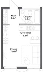 ЖК «Discovery», планировка студии, 28.90 м²