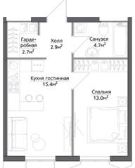 ЖК «Discovery», планировка 1-комнатной квартиры, 38.69 м²