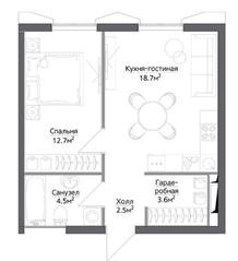 ЖК «Discovery», планировка 1-комнатной квартиры, 40.08 м²