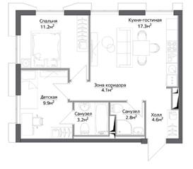 ЖК «Discovery», планировка 2-комнатной квартиры, 53.14 м²