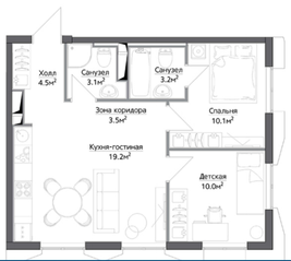 ЖК «Discovery», планировка 2-комнатной квартиры, 53.51 м²
