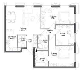 ЖК «Discovery», планировка 4-комнатной квартиры, 92.29 м²