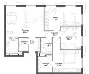 ЖК «Discovery», планировка 4-комнатной квартиры, 91.50 м²