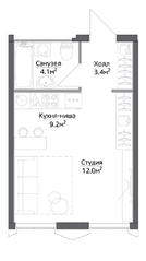 ЖК «Discovery», планировка студии, 28.83 м²