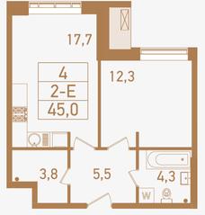 ЖК «Городские резиденции SPIRES», планировка 2-комнатной квартиры, 45.00 м²