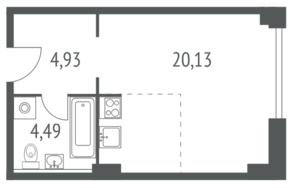 ЖК «iLove», планировка студии, 29.55 м²