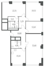 ЖК «iLove», планировка 4-комнатной квартиры, 131.54 м²