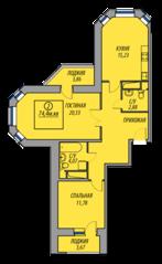 ЖК «Марз» (корп. 5), планировка 2-комнатной квартиры, 74.40 м²